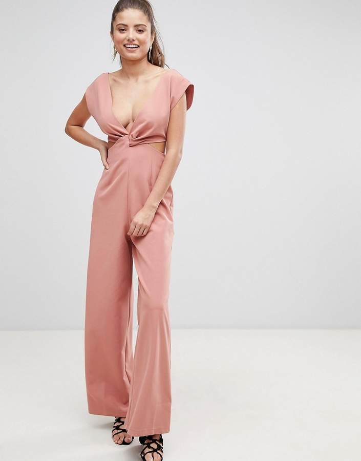 Asos (エイソス) - ASOS DESIGN knot front jumpsuit with cut out detail and wide leg