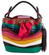 Salvatore Ferragamo Solaria Rainbow-Stripe Tassel Bucket Bag