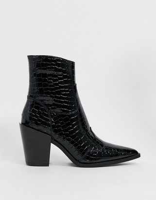 Truffle Collection mid heeled western boots in black croc