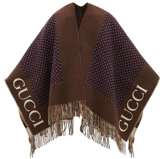 Gucci Check Logo-jacquard Wool Poncho - Mens - Navy