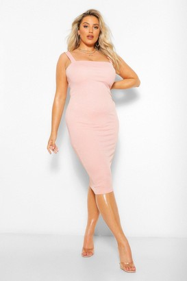 boohoo Plus Square Neck Midi Dress