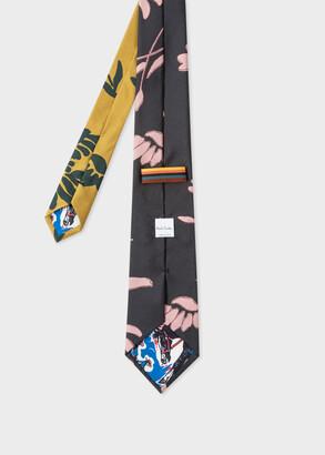 Paul Smith Men's Grey 'Bird Floral' Print Silk Tie