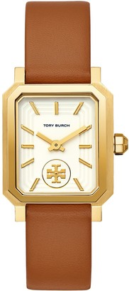 Tory Burch Robinson Watch, Brown Leather/Gold-Tone, 27 X 29 MM