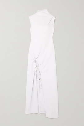 Off-White Drawstring-embellished Crepe Midi Dress - Light gray