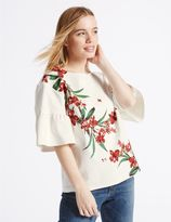 Marks and Spencer PETITE Floral Print Frill Sleeve T-Shirt