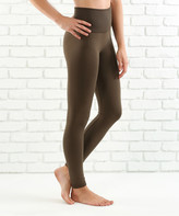 Contagious Women's Leggings OLIVE - Olive Tummy-Control Fleece-Lined High-Waist Leggings - Women