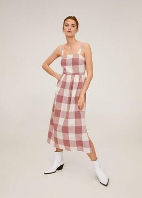 MANGO Check pattern midi dress pastel pink - 4 - Women