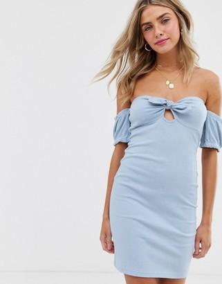 Asos Design DESIGN off shoulder crinkle sundress with puff sleeve-Blue