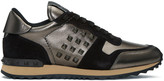 Valentino Gunmetal and Black Rockstud Sneakers