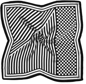 Bees Knees Fashion Black White Abstract Printed Small Square Fine Silk Scarf