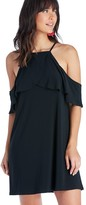 Sole Society High Neck Overlap Cold Shoulder Dress
