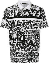 Versace graffiti print polo shirt