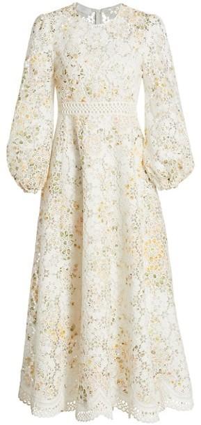 Zimmermann Amelie Floral Linen-Blend Lace Eyelet Puff-Sleeve Dress