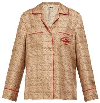 Fendi Ff Logo-embroidered Gate-print Silk Shirt - Womens - Beige Multi
