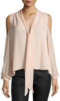 Haute Hippie The Vida Silk Cold-Shoulder Blouse, Pale Pink