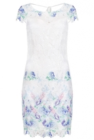 Quiz Cream And Blue Crochet Shift Dress