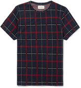Oliver Spencer - Conduit Slim-fit Plaid Knitted Cotton T-shirt