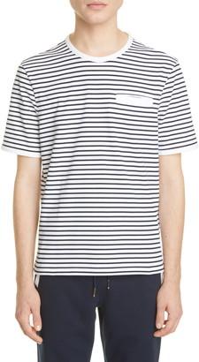 Thom Browne Stripe Welt Pocket Cotton T-Shirt