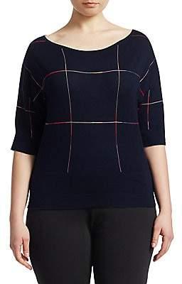 Marina Rinaldi Marina Rinaldi, Plus Size Women's Artefice Knit Wool Short-Sleeve Sweater