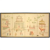 Oriental Furniture Asian Decor and Gifts, 36 by 72-Inch Enter the Pagoda Brush Art Oriental Wall Screen