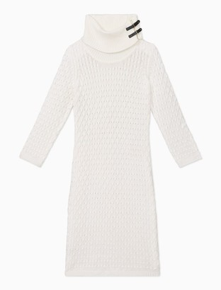 Calvin Klein Honeycomb Knit Cowl Neck Sweater Dress