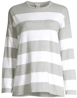 Eileen Fisher Crewneck Striped Boxy Sweater