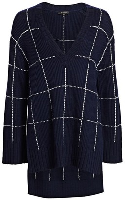 St. John Windowpane Knit High-Low V-Neck Sweater