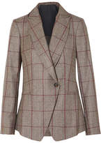 Brunello Cucinelli Sequin-embellished Prince Of Wales Checked Wool Blazer - Brown