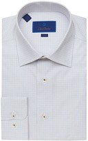 David Donahue Trim Fit Micro Tic Dress Shirt (Bark) Men's Clothing