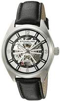 Stuhrling Original Men's Automatic Watch with Silver Dial Analogue Display and Black Leather Strap 598.01