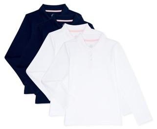 Wonder Nation Girls School Uniform Long Sleeve Interlock Polo Shirt, 4-Pack Value Bundle, Sizes 4-18