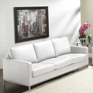 """Orren Ellis Corniche Genuine Leather 79"""" Square Arm Sofa Fabric: Polar White"""