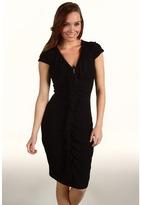 Karen Kane Ruffle Front Zipper Dress (Black) - Apparel