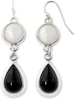 Liz Claiborne Black and White Silver-Tone Double Drop Earrings