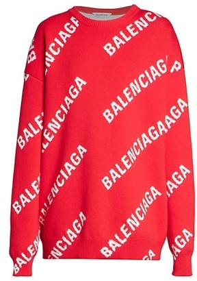 Balenciaga Oversized Logo Wool-Blend Knit Sweater