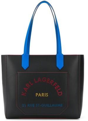 Karl Lagerfeld Paris K/Journey logo print tote bag