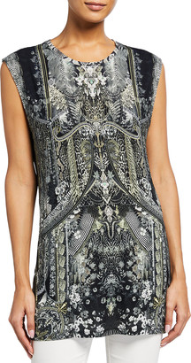 Camilla Crystal-Embellished Printed Muscle Tank Top