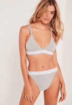 Missguided Contrast Elastic Triangle Bra Grey