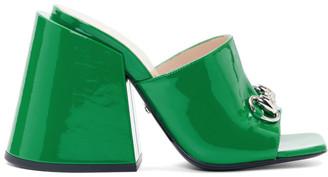 Gucci Green Patent Lexi Horsebit Sandals