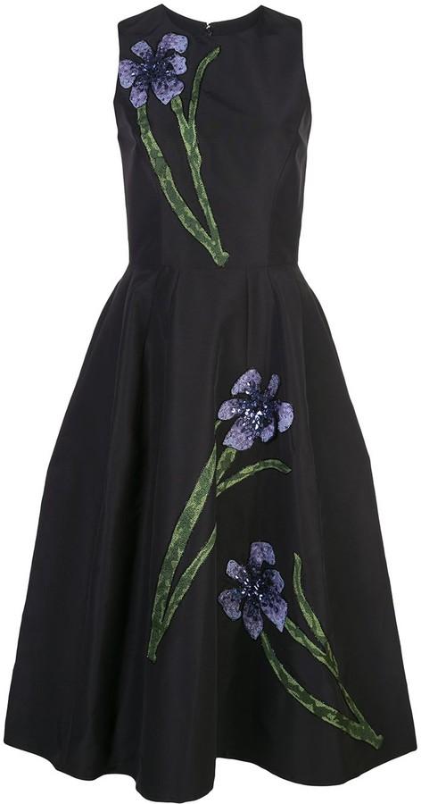 Carolina Herrera Floral Embroidery Silk Dress