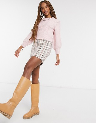 Miss Selfridge bobble cable knit jumper in pink