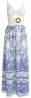 PatBO Amalfi Print Cut-Out Maxi Dress