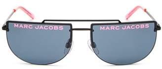 Marc Jacobs Women's Flat Top Brow Bar Rimless Aviator Sunglasses, 56mm