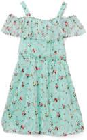 Speechless Mint & Coral Ruffle Off-Shoulder Dress
