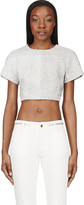 Proenza Schouler Grey Leather Paneled Python Crop- Top