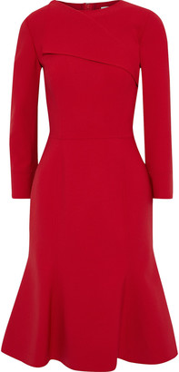 Oscar de la Renta Fluted Wool-blend Dress