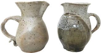 One Kings Lane Vintage Stoneware Ceramic Milk Pitchers - Set of 2 - Eat Drink Home