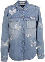 Valentino Denim Butterfly Appliqué Denim Shirt
