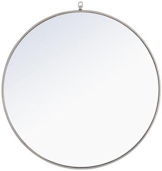 "Elegant Furniture & Lighting 36"" Round Metal Frame Mirror With Decorative Hook, Silver"