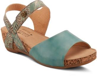 Spring Step L'Artiste by Floral Leather Sandals- Ceylan